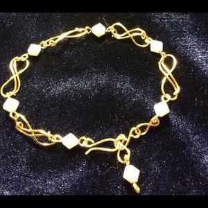 Jewelry - Gold Infinity Bracelet w/White Beads